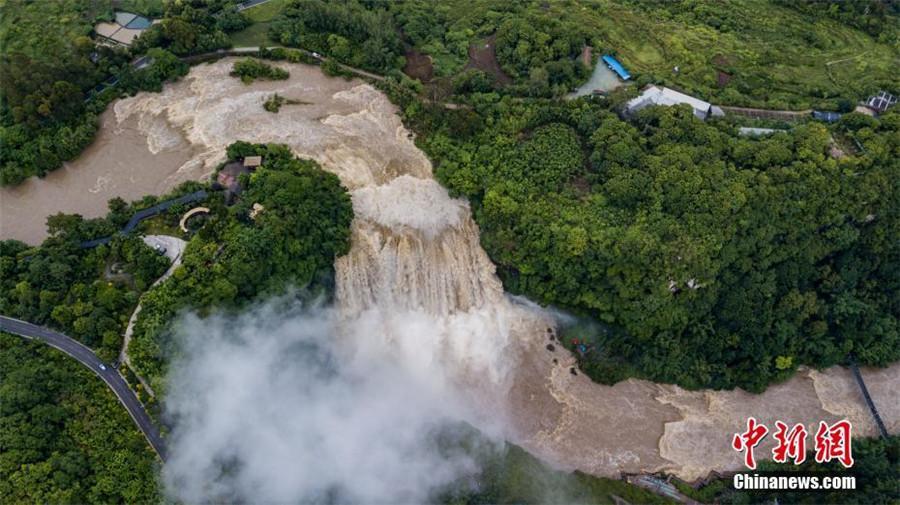 An aerial view of Huangguoshu Waterfall in Anshun city, Southwest China\'s Guizhou Province, June 4, 2018. (Photo/China News Service)