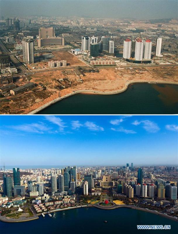 Combined photos show aerial views of Wusi Square in Qingdao, east China\'s Shandong Province, taken respectively in 1996 (upper) and on April 16, 2018. Development of the coastal city can be seen from the file photos of Qingdao taken by photographer Zhang Yan on a helicopter since 1996 and the new ones taken by drones. Qingdao, as one of the first Chinese cities to open up, was an important port for the Belt and Road, and that people could sense the extensive, profound local culture and the vitality of China\'s reform and opening-up. (Xinhua/Zhang Yan, Guo Xulei)