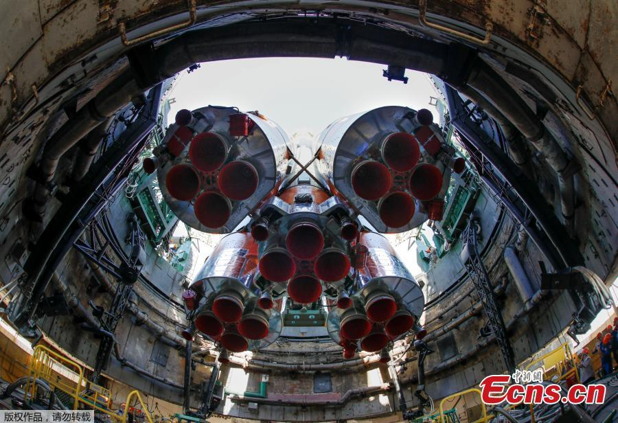 The Soyuz MS-09 spacecraft for the next International Space Station (ISS) crew, formed of astronauts Serena Aunon-Chancellor of the U.S, Alexander Gerst of Germany and cosmonaut Sergey Prokopyev of Russia, is seen being set at the launchpad ahead of its upcoming launch, at the Baikonur Cosmodrome, Kazakhstan, June 4, 2018. (Photo/Agencies)