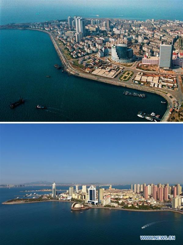 Combined photos show aerial views of Tuandao in Qingdao, east China\'s Shandong Province, taken respectively in 1996 (upper) and on May 4, 2018. Development of the coastal city can be seen from the file photos of Qingdao taken by photographer Zhang Yan on a helicopter since 1996 and the new ones taken by drones. Qingdao, as one of the first Chinese cities to open up, was an important port for the Belt and Road, and that people could sense the extensive, profound local culture and the vitality of China\'s reform and opening-up. (Xinhua/Zhang Yan, Li Ziheng)