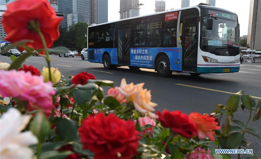 A bus runs on a street in Qingdao, east China\'s Shandong Province, June 4, 2018. The 18th Shanghai Cooperation Organization (SCO) Summit is scheduled for June 9 to 10 in Qingdao. (Xinhua/Ma Ning)