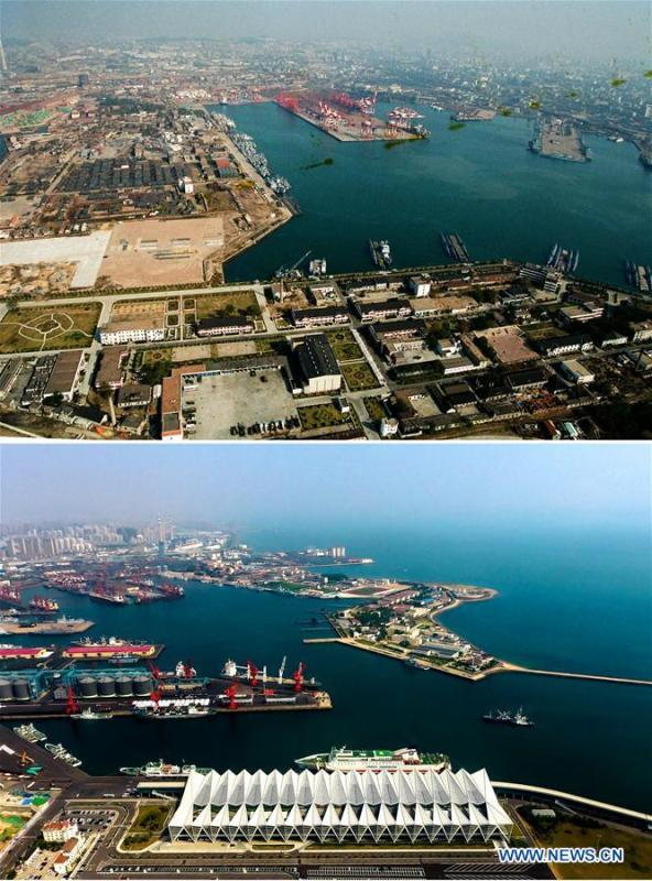 Combined photos show aerial views of Qingdao Port in Qingdao, east China\'s Shandong Province, taken respectively in 1996 (upper) and on May 7, 2018. Development of the coastal city can be seen from the file photos of Qingdao taken by photographer Zhang Yan on a helicopter since 1996 and the new ones taken by drones. Qingdao, as one of the first Chinese cities to open up, was an important port for the Belt and Road, and that people could sense the extensive, profound local culture and the vitality of China\'s reform and opening-up. (Xinhua/Zhang Yan, Guo Xulei)