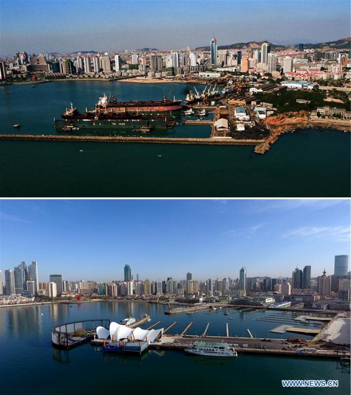 Combined photos show aerial views of Olympic Sailing Center, which used to be a shipyard, in Qingdao, east China\'s Shandong Province, taken respectively in 2000 (upper) and on April 16, 2018. Development of the coastal city can be seen from the file photos of Qingdao taken by photographer Zhang Yan on a helicopter since 1996 and the new ones taken by drones. Qingdao, as one of the first Chinese cities to open up, was an important port for the Belt and Road, and that people could sense the extensive, profound local culture and the vitality of China\'s reform and opening-up. (Xinhua/Zhang Yan, Guo Xulei)