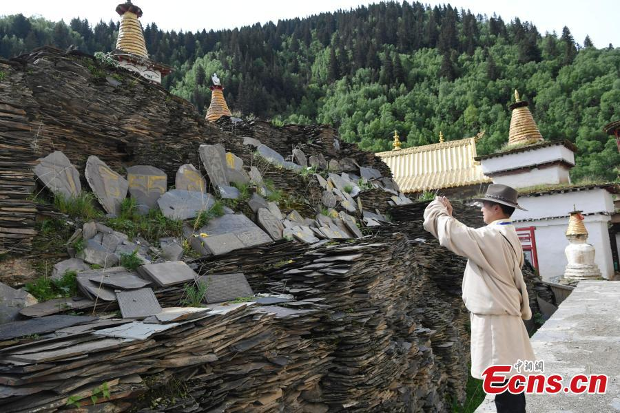 A view of the stone sutras at Bangtuo Monastery, Rangtang County, Southwest China\'s Sichuan Province. The monastery is home to 500,000 stone slabs inscribed with Tripitaka scriptures, which were made in the Ming and Qing dynasties by more than 60 masons over a period of nine years on an area of 598 square meters, the largest and best-preserved stone sutras in the world. (Photo: China News Service/An Yuan)