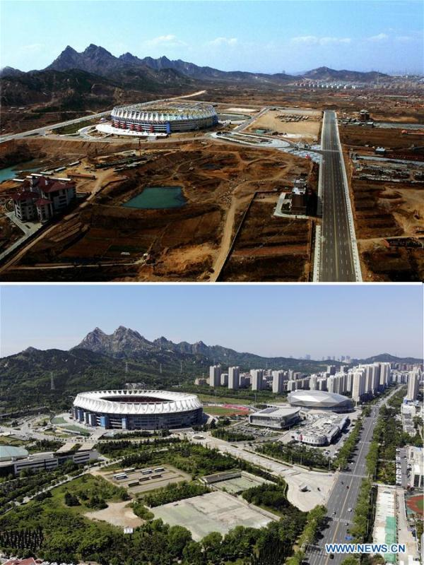 Combined photos show aerial views of Qingdao Sports Center in Qingdao, east China\'s Shandong Province, taken respectively in 2000 (upper) and on May 13, 2018. Development of the coastal city can be seen from the file photos of Qingdao taken by photographer Zhang Yan on a helicopter since 1996 and the new ones taken by drones. Qingdao, as one of the first Chinese cities to open up, was an important port for the Belt and Road, and that people could sense the extensive, profound local culture and the vitality of China\'s reform and opening-up. (Xinhua/Zhang Yan, Li Ziheng)