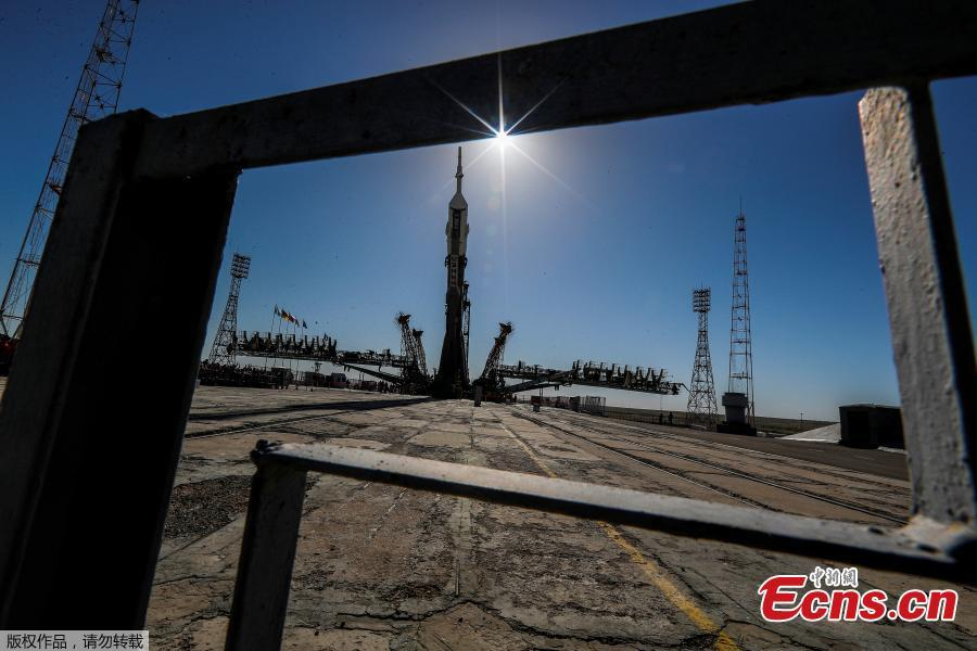 The Soyuz MS-09 spacecraft for the next International Space Station (ISS) crew, formed of astronauts Serena Aunon-Chancellor of the U.S, Alexander Gerst of Germany and cosmonaut Sergey Prokopyev of Russia, is transported from an assembling hangar to the launchpad ahead of its upcoming launch, at the Baikonur Cosmodrome, Kazakhstan, June 4, 2018. (Photo/Agencies)