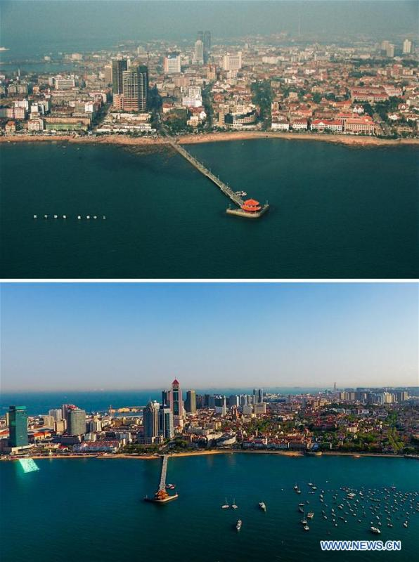 Combined photos show aerial views of Zhanqiao Pier in Qingdao, east China\'s Shandong Province, taken respectively in 1996 (upper) and on May 4, 2018. Development of the coastal city can be seen from the file photos of Qingdao taken by photographer Zhang Yan on a helicopter since 1996 and the new ones taken by drones. Qingdao, as one of the first Chinese cities to open up, was an important port for the Belt and Road, and that people could sense the extensive, profound local culture and the vitality of China\'s reform and opening-up. (Xinhua/Zhang Yan, Guo Xulei)