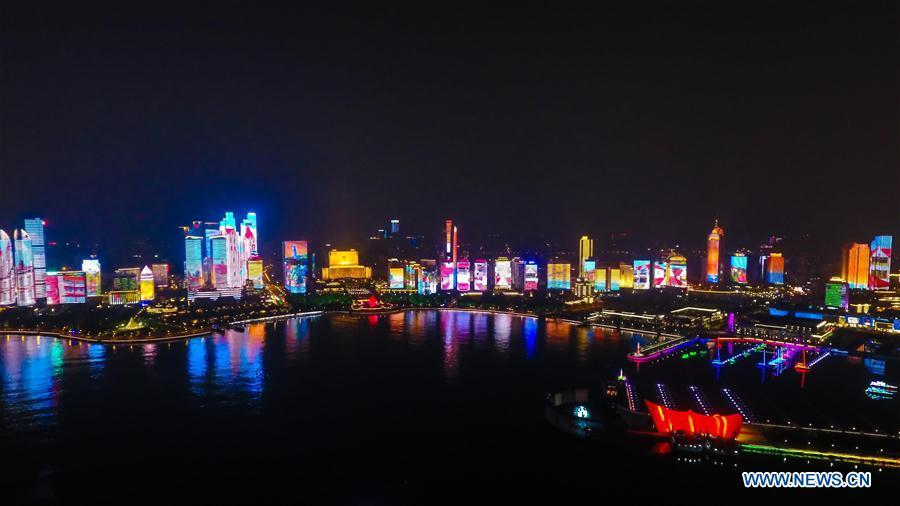 Photo taken on May 7, 2018 shows the night view of Fushan Bay in Qingdao, east China\'s Shandong Province. The 18th Shanghai Cooperation Organization (SCO) Summit is scheduled for June 9 to 10 in Qingdao. (Xinhua/Guo Xulei)
