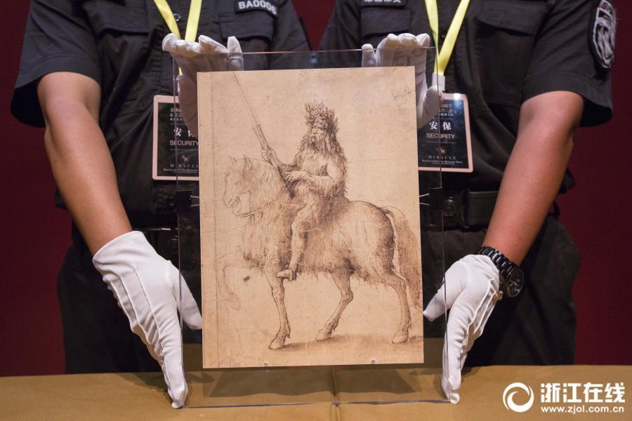 Leonardo Da Vinci's sketch The Knight on show at the Zhejiang Exhibition Hall in Hangzhou City, East China's Zhejiang Province, June 5, 2018. The exhibition of 250 items will include works by three of the great master artists of Renaissance Italy - Leonardo, Raphael and Michelangelo. (Photo/zjol.com.cn)