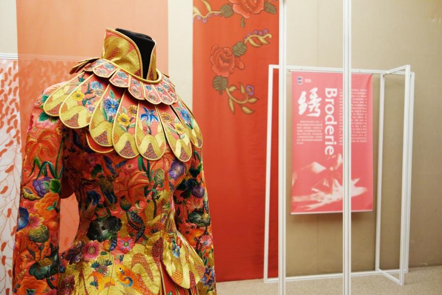 An embroidered silk dress is showcased at the Paris China Cultural Center on June 5, 2018. (Photo provided to Chinaculture.org)  Zhou Wei, the event's curator and assistant to the director of the China National Silk Museum, said the exhibition infused new designs with traditional craftsmanship to reflect the rich artistic connotation and vitality of Chinese silk.   On the sidelines of the exhibition, the center also held a public lecture on \