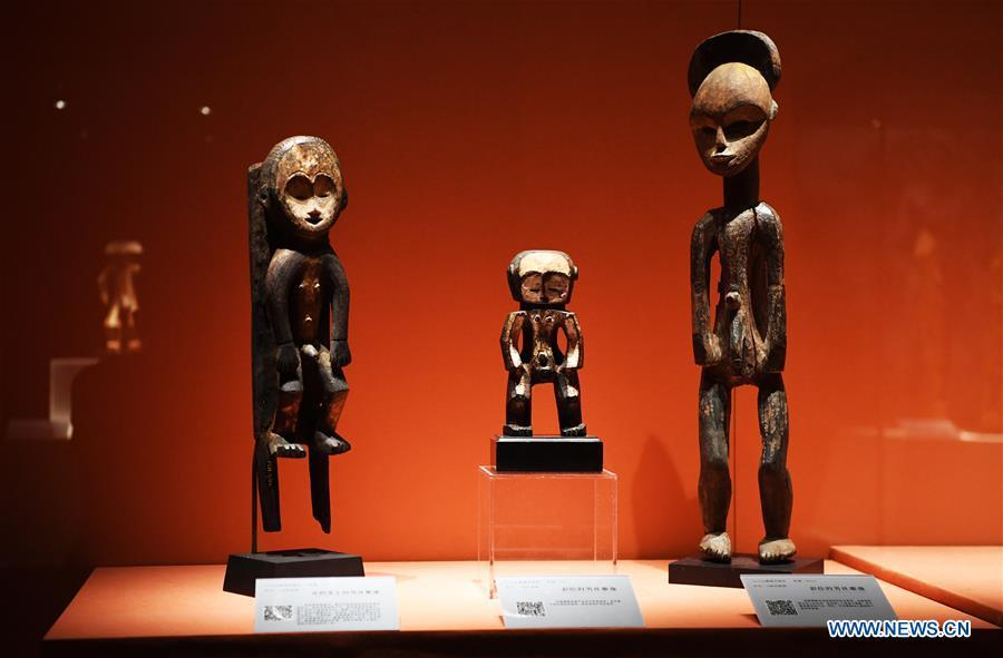 Photo taken on June 7, 2018 shows exhibits at the African Art Exhibition in southwest China\'s Chongqing. The exhibition will open to the public from June 8 to Sept. 9. (Xinhua/Wang Quanchao)