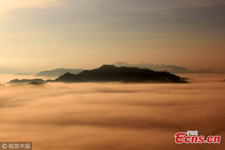 A sea of clouds after rain as the sun rises in the Qiyun Mountains in Huangshan City, East China's Anhui Province, June 7, 2018. (Photo/VCG)