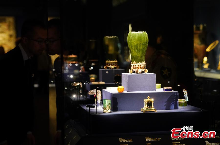 Items on display during the Treasures from the Al Thani Collection at the Meridian Gate (Wu Men) of the Palace Museum in Beijing, April 17, 2018. (Photo: China News Service/Du Yang)
