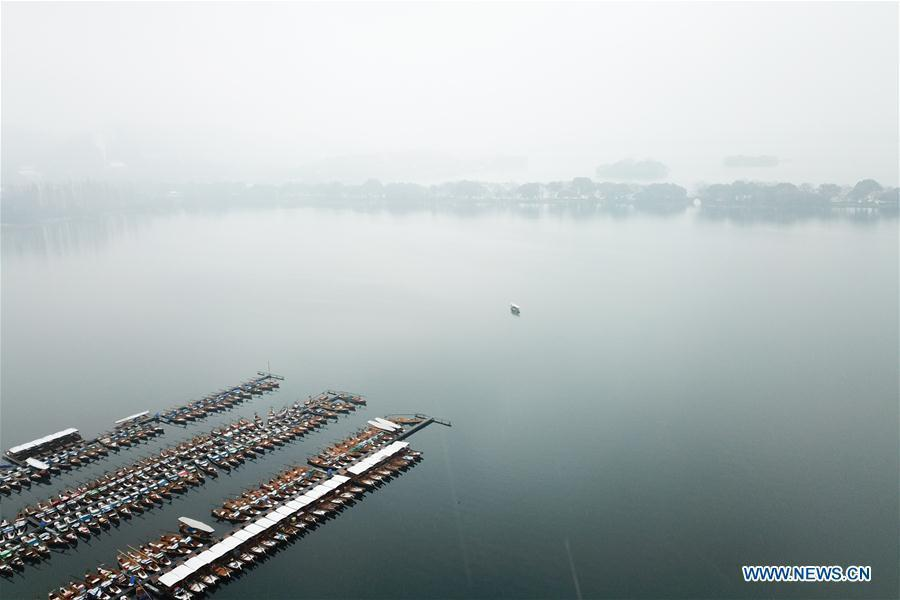 Aerial photo taken on Jan. 25, 2018 shows the snow scenery of West Lake in Hangzhou, east China Zhejiang Province, Jan. 25, 2018. (Xinhua/Huang Zongzhi)