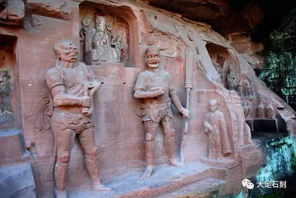 The statues of clairvoyance, clairaudience and the Jade Emperor in the Dazu Rock Carvings in Chongqing municipality. (Photo/The official Wechat account of Dazu Rock Carvings)