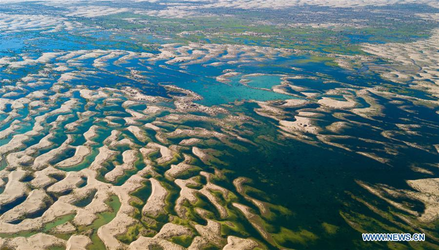 Aerial photo taken on June 9, 2018 shows a wetland in the Kubuqi Desert of Ordos City, north China\'s Inner Mongolia Autonomous Region. The wetland is formed by water of the Yellow River in flood period. (Xinhua/Peng Yuan)