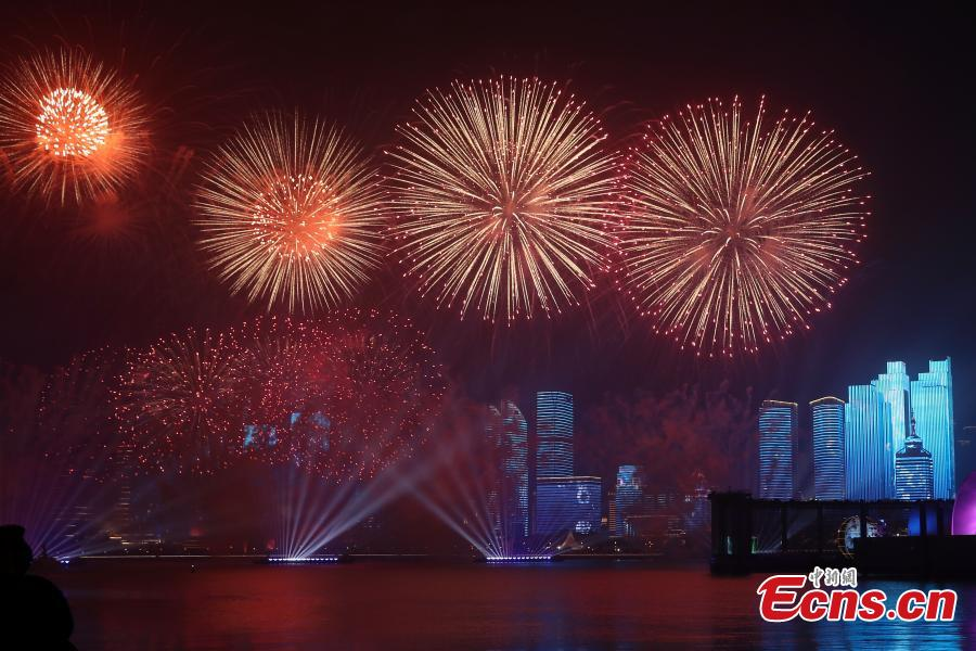 A light show and fireworks display is held to welcome guests attending the 18th Shanghai Cooperation Organization (SCO) Summit in Qingdao, Shandong Province, June 9, 2018. (Photo: China News Service/Sheng Jiapeng)