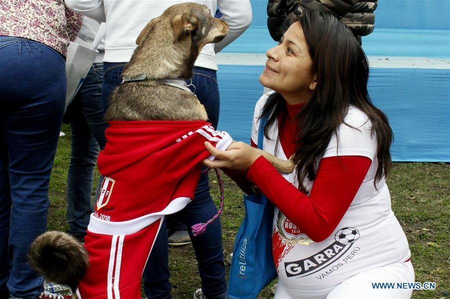 A woman interacts with her dog during a contest with the theme of FIFA World Cup in Lima, Peru, on June 10, 2018. (Xinhua/Luis Camacho)