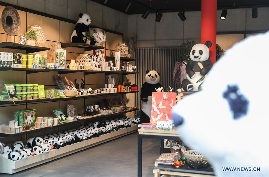 Panda souvenirs are seen at Berlin Zoo in Berlin, Germany, June 9, 2018. Mengmeng and Jiaoqing, the two pandas from China, arrived in Berlin on June 24, 2017. They became superstar during their first-year\'s stay here in Berlin Zoo. (Xinhua/Shan Yuqi)