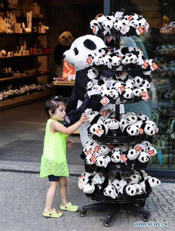 A girl picks panda souvenirs at Berlin Zoo in Berlin, Germany, June 9, 2018. Mengmeng and Jiaoqing, the two giant pandas from China, arrived in Berlin on June 24, 2017. They became superstar during their first-year\'s stay here in Berlin Zoo. (Xinhua/Shan Yuqi)