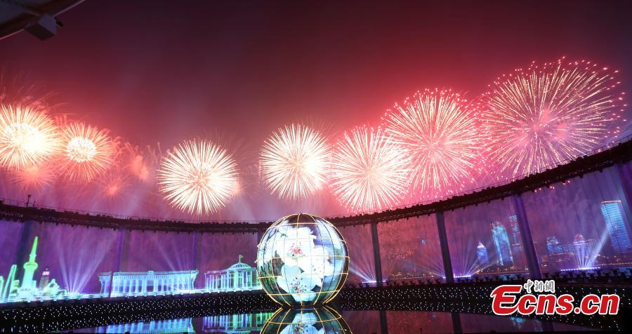 A light show and fireworks display is held to welcome guests attending the 18th Shanghai Cooperation Organization (SCO) Summit in Qingdao, Shandong Province, June 9, 2018. (Photo: China News Service/Mao Jianjun)