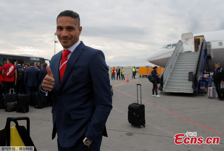 Peru\'s Paolo Guerrero arrives at the Sheremetyevo international airport, outside Moscow, Russia, to compete in the 2018 World Cup in Russia. (Photo/Agencies)