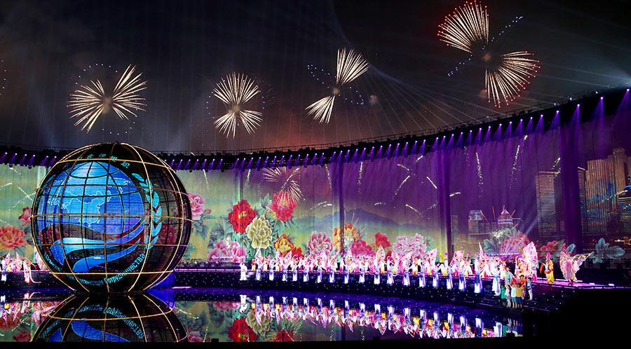 Fireworks, a light show and a performance are staged to welcome SCO leaders on Saturday. (Photo/China Daily)