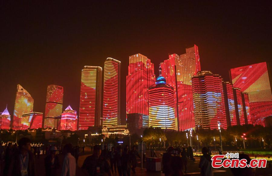 A light show and fireworks display is held to welcome guests attending the 18th Shanghai Cooperation Organization (SCO) Summit in Qingdao, Shandong Province, June 9, 2018. (Photo: China News Service /Zhang Yong)