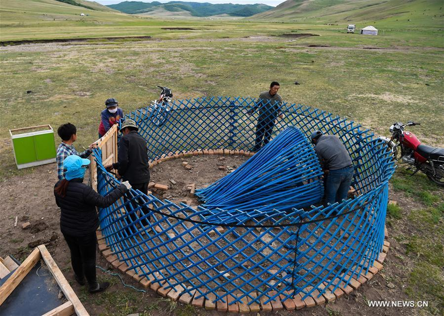 Erden sets up a yurt at the summer pasture at the Ar Horqin Banner in Chifeng City, north China\'s Inner Mongolia Autonomous Region, June 5, 2018. June 5 was the day for Erden\'s family to move their cattle to a summer pasture, about 40 kilometers away from their family. It is a tradition for nomadic herdsmen spending their lives following the water and pasture. The transfer provides cattle and sheep abundant food and enables the grassland to renew itself. Erden and his sister drive their trucks loaded with living households and lead over 80 cattle towards the summer pasture. After 12 hours\' arduous journey, they arrived at their destination and prepared to set up yurt. They will stay here for a whole summer and return to their family in September. (Xinhua/Peng Yuan)