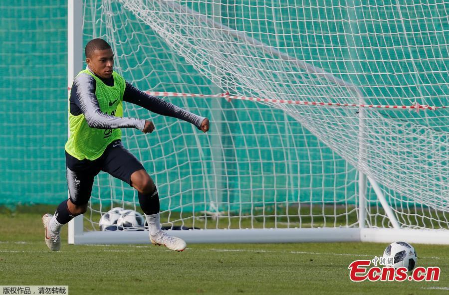 Kylian Mbappé of the French national team trains in Istrinsky District, Russia, ahead of the 2018 World Cup. (Photo/Agencies)