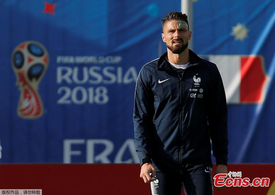 Olivier Giroud of the French national team trains in Istrinsky District, Russia, ahead of the 2018 World Cup. (Photo/Agencies)