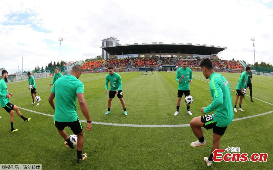 Footballers of the Australian national team train in Kazan, Russia, ahead of the 2018 World Cup. (Photo/Agencies)