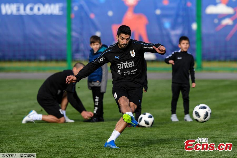 Luis Suárez of the Uruguay national team trains in Nizhny Novgorod, Russia, ahead of the 2018 World Cup. (Photo/Agencies)