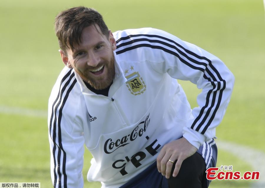 Lionel Messi of the Argentina national soccer team trains in Bronnitsy, Russia, June 11, 2018, ahead of the 2018 World Cup. (Photo/Agencies)