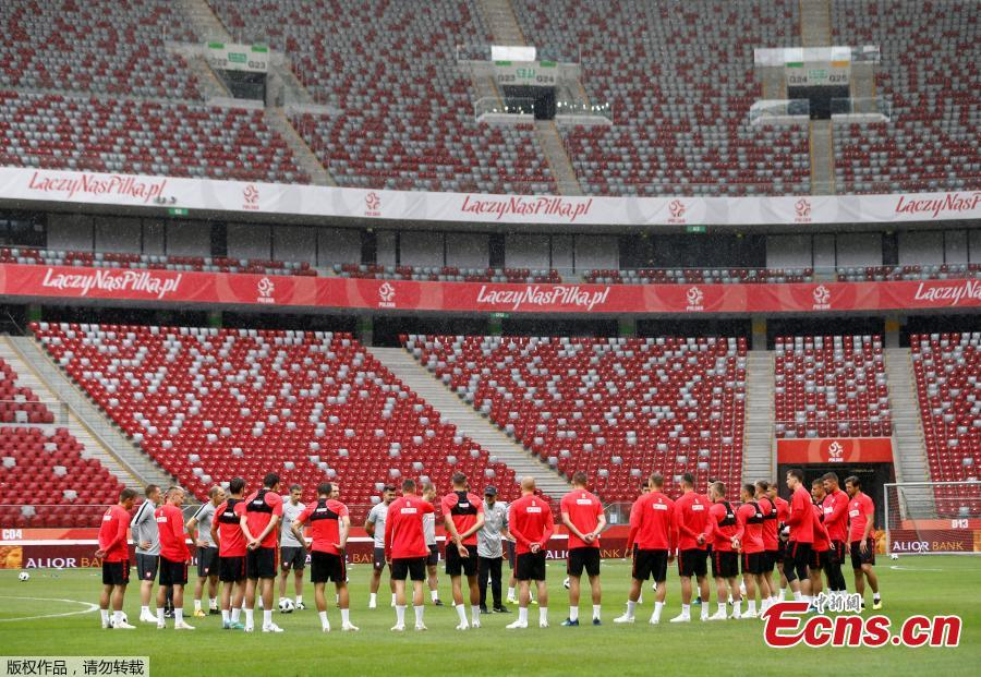 Footballers of the Poland national team train in Warsaw, Poland, ahead of the 2018 World Cup. (Photo/Agencies)