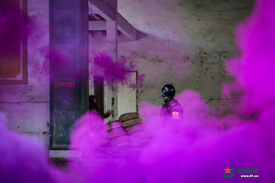 Soldiers use a smoke grenade to shield themselves as they pass through a room in the operation area during the week-long rigorous training starting from June 11, 2018. (Photo/81.cn)