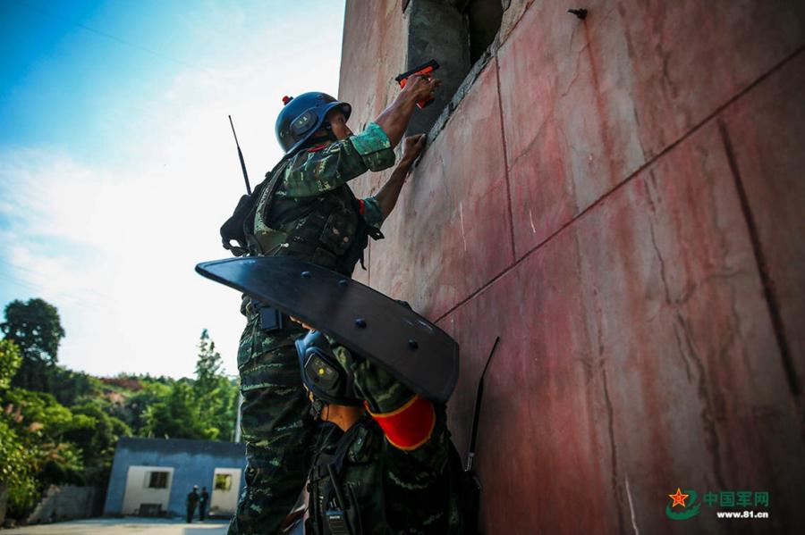 A soldier protects his partner with a shield as they scout out the situation through a window in the operation area during the week-long rigorous training starting from June 11, 2018.  (Photo/81.cn)