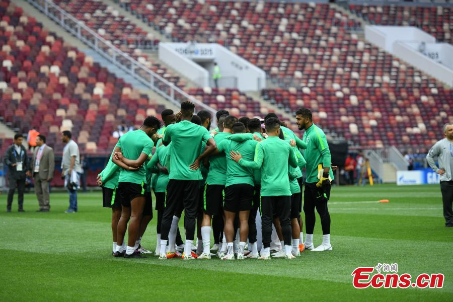 Footballers of the Saudi Arabia national team train at Luzhniki Stadium in Moscow, Russia, June 13, 2018, ahead of the World Cup. (Photo: China News Service/Tian Bochuan)