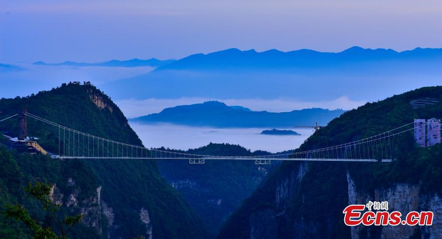 File photo of Zhangjiajie Grand Canyon Glass Bridge in Zhangjiajie City, Central China's Hunan Province. The bridge, designed by the China Railway Major Bridge Reconnaissance & Design Institute, has won the Arthur G. Hayden Medal at the 35th International Bridge Conference (IBC), the pre-eminent arena for the world's bridge industry. (Photo: China News Service/Wang Hu)