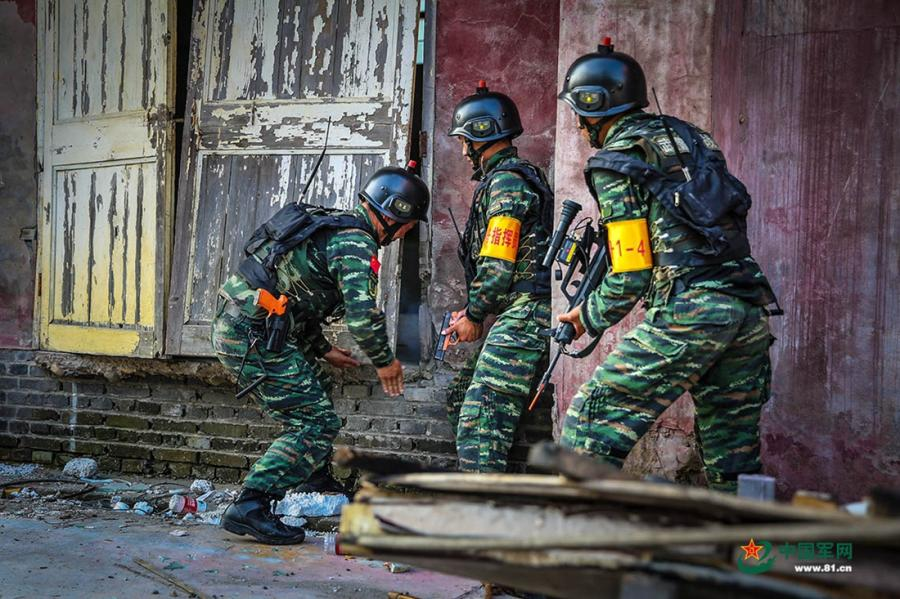 Soldiers throw a smoke grenade into a room before they break down the door in the operation area during the week-long rigorous training starting from June 11, 2018. (Photo/81.cn)