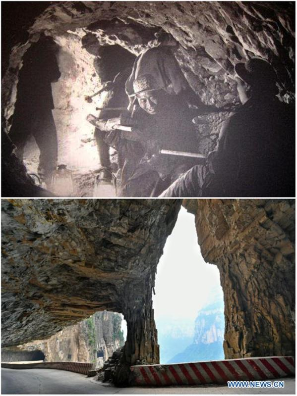 File photo (upper) shows villagers building a road in cliffs of Shenlongwan Village in Changzhi City, north China\'s Shanxi Province and photo (lower) shows the completed cliff road on June 13, 2018. A 1,526-meter-long road was built along the cliffs to connect isolated Shenlongwan to the outside. The construction of this miraculous road lasted for fifteen years from 1985 to 2000, and was built purely by villagers of Shenlongwan. Thanks to this road, villagers here now cast off poverty by developing tourism. (Xinhua/Cao Yang)