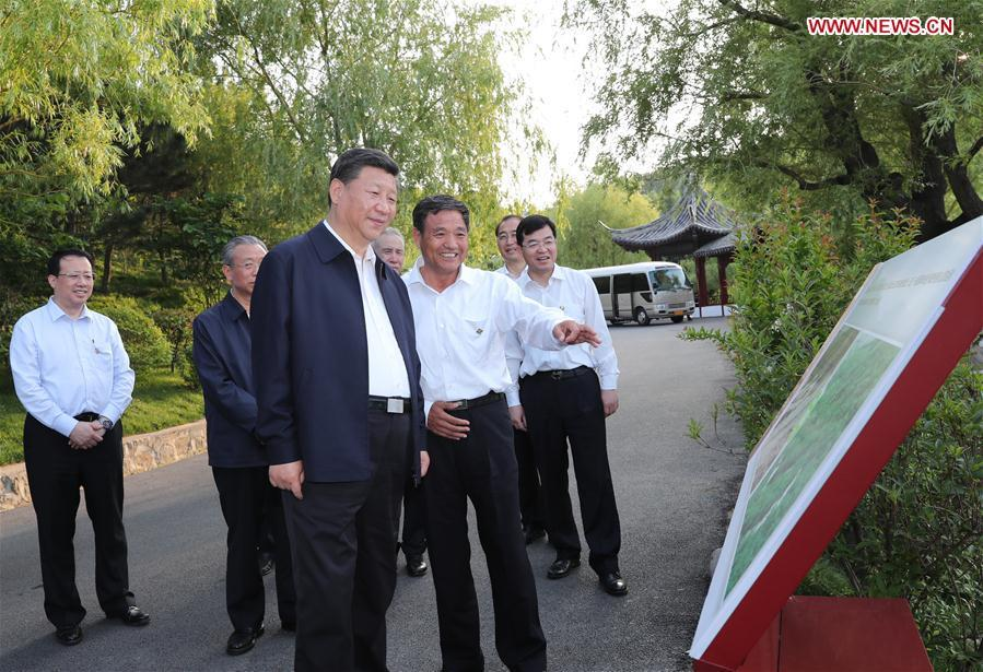 Chinese President Xi Jinping, also general secretary of the Communist Party of China (CPC) Central Committee and chairman of the Central Military Commission, inspects an ecological restoration project in Weihai City of east China\'s Shandong Province, June 12, 2018. Xi made an inspection tour in Shandong from June 12 to 14. (Xinhua/Xie Huanchi)
