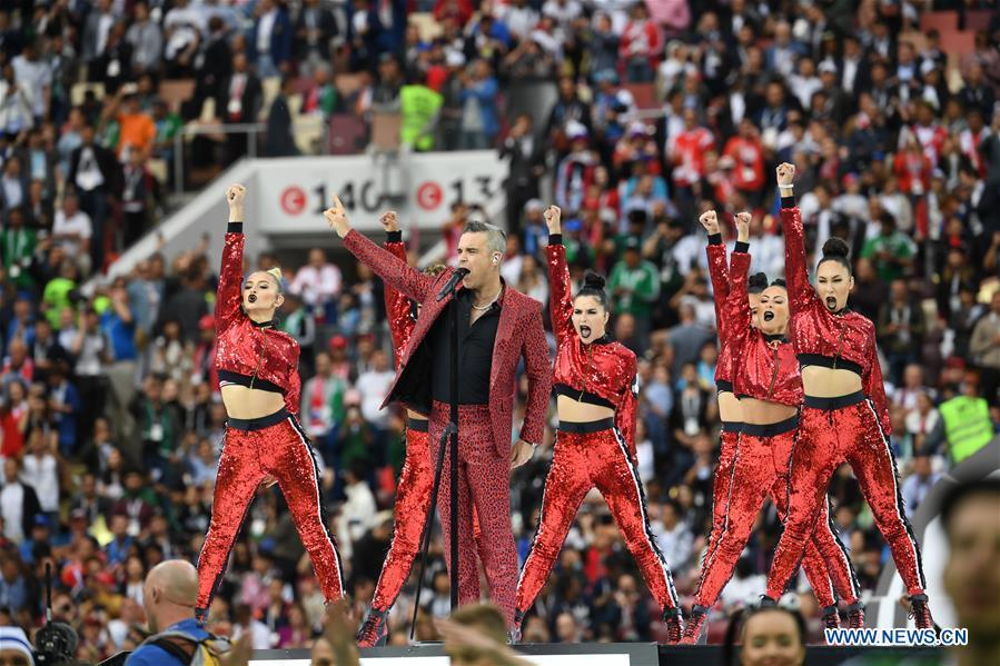 Photo taken on June 14, 2018 shows the opening ceremony of the 2018 FIFA World Cup in Moscow, Russia. (Xinhua/Chen Cheng)