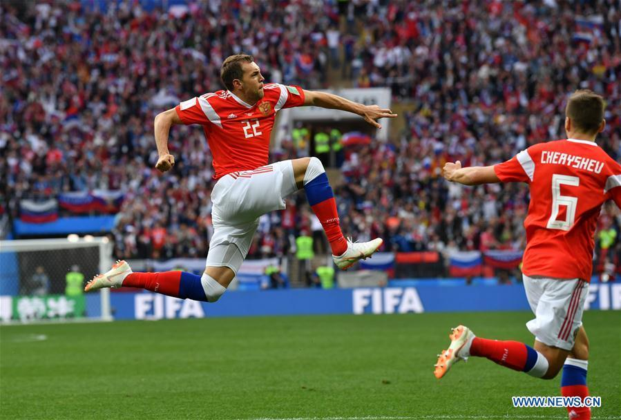 Russia\'s Artem Dzyuba celebrates his goal against Saudi Arabia during the opening match of the 2018 FIFA World Cup in Moscow, Russia, on June 14, 2018. (Xinhua/Chen Cheng)