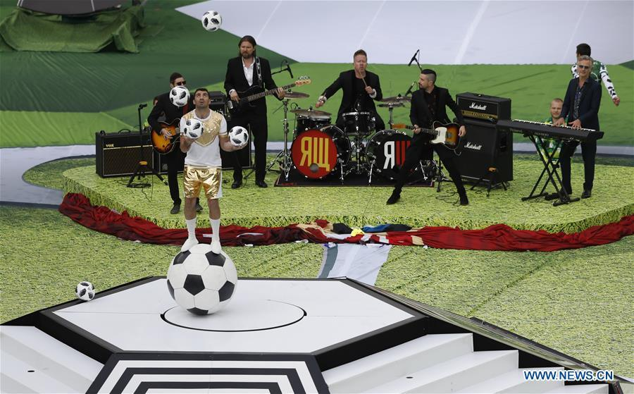 Photo taken on June 14, 2018 shows the opening ceremony of the 2018 FIFA World Cup in Moscow, Russia. (Xinhua/Cao Can)