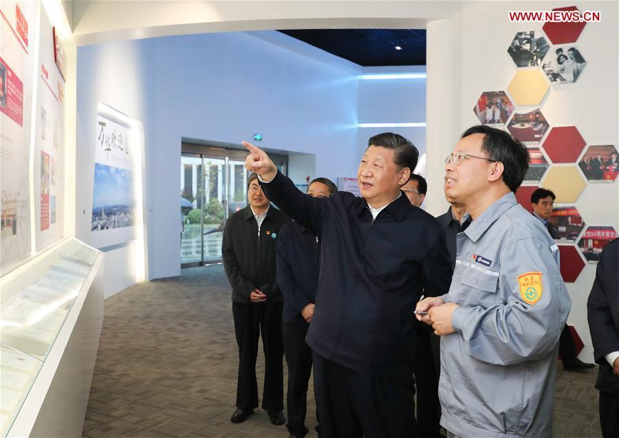 Chinese President Xi Jinping, also general secretary of the Communist Party of China Central Committee and chairman of the Central Military Commission, visits an industrial park of Wanhua Chemical during an inspection tour in Yantai, east China\'s Shandong Province, June 13, 2018. (Xinhua/Xie Huanchi)