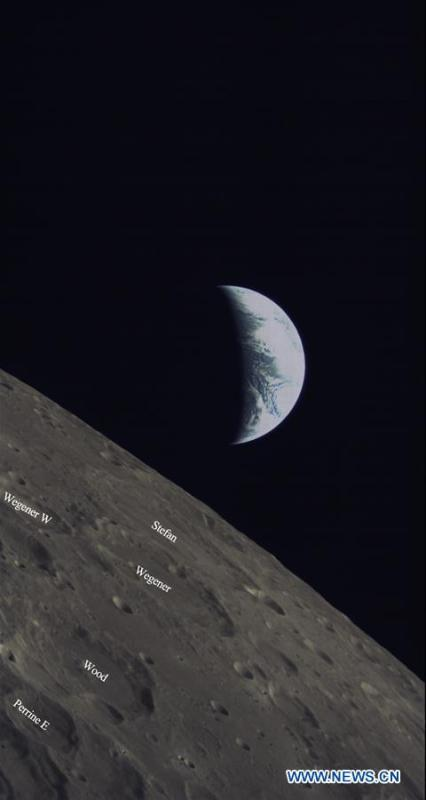 A released photo shows part of the Mare Imbrium on the moon. China and Saudi Arabia on June 14, 2018 jointly unveiled three lunar images acquired through cooperation on the relay satellite mission for Chang\'e-4 lunar probe. An optical camera, developed by the King Abdulaziz City for Science and Technology of Saudi Arabia, was installed on a micro satellite, named Longjiang-2. The micro satellite is orbiting around the Moon. The camera, which began to work on May 28, has conducted observations of the Moon and acquired a series of clear lunar images and data. (Xinhua)