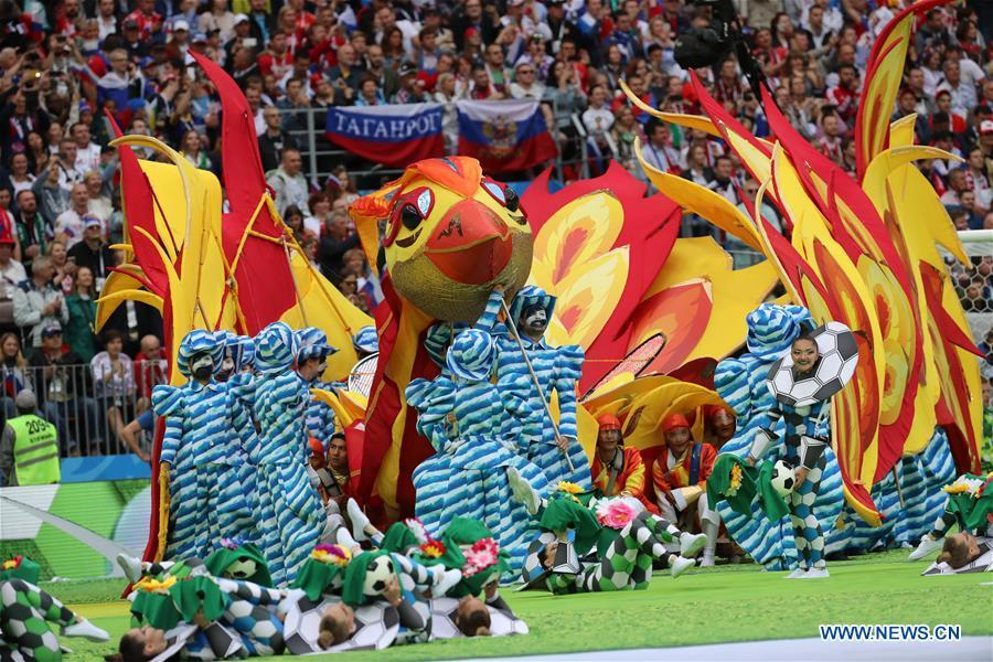 Photo taken on June 14, 2018 shows the opening ceremony of the 2018 FIFA World Cup in Moscow, Russia. (Xinhua/Yang Lei)