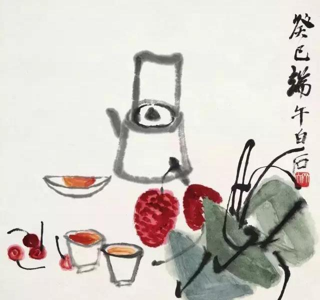 Duanwu\'s delicacy, Qi Baishi, 1953. (Photo courtesy of China Daily)  Duanwu's delicacy  This 1953 ingenious painting from Qi Baishi\'s later days displays a succulent feast of cherries, strawberries, realgar wine and Zongzi, to celebrate the Festival. Qi Baishi used this simple composition and festival elements to express the thoughts and feelings close to daily life, also encourages the expression of imagination and creativity, contributing to a vivid sense of cultural identity.  The loquats and flowers  This piece painted by Tang Yun, a prestigious modern artist, signals the coming of the Dragon Boat Festival. The season of loquat fruit is around the festival.  All these practices represent a common theme of expelling negative forces and maintaining good health.  The Dragon Boat Festival is the first Chinese festival to be included in the list of the world\'s intangible cultural heritage by the UNESCO. It was made as a national holiday in 2008.