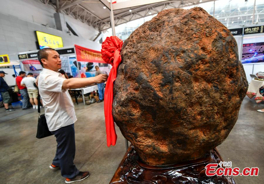 A rare stone is on display at an exhibition center in Urumqi, capital of northwest China\'s Xinjiang Uygur Autonomous Region, June 15, 2018. (Photo: China News Service/Liu Xin)